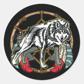 Wolf Dreamcatcher Round Sticker