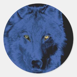 Wolf Face - Black & Blue Round Sticker