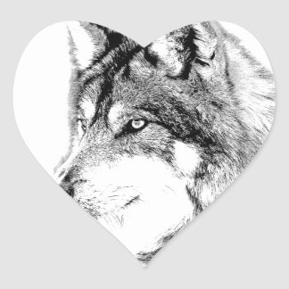 Wolf Face. Majestic Wolf Gazes Into The Distance. Heart Sticker