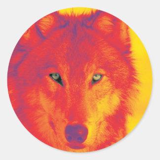 Wolf Face - Red & Yellow Round Sticker