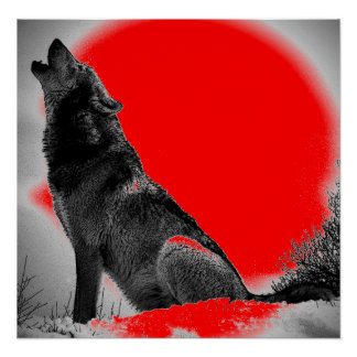 Wolf Howling at Moon Red Pop Art Poster