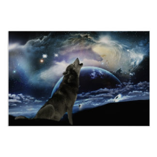 Wolf howling at the moon poster