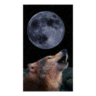 Wolf Howling at the Moon TALL - Poster