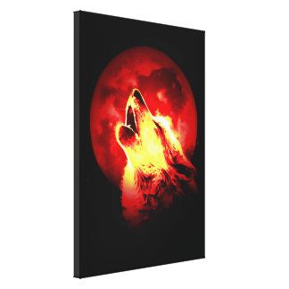 Wolf Howling & Red Moon Wrapped Canvas Stretched Canvas Prints