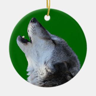 wolf howling round ceramic decoration