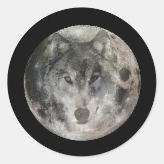 Wolf Moon Round Sticker