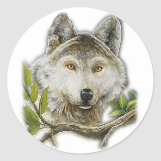Wolf Painting with just face Round Sticker