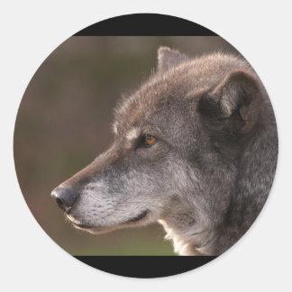 Wolf Profile Round Sticker