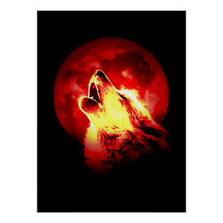 Wolf & Red Moon Poster