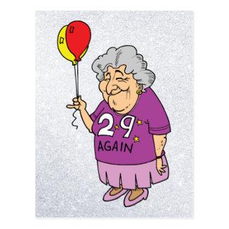 woman birthday 29 again postcard