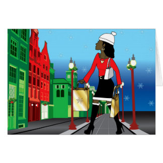 Woman Christmas shopping with bags dressed fashion Greeting Card