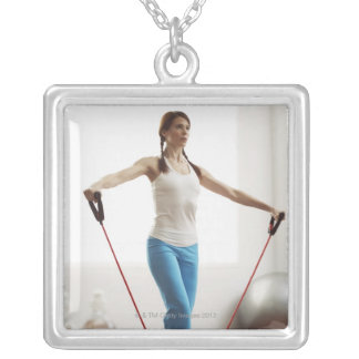 Woman Exercising Square Pendant Necklace