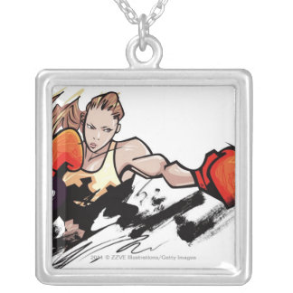 Woman wearing boxing glove square pendant necklace