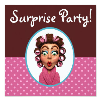 Woman Wearing Curlers Surprise Party 13 Cm X 13 Cm Square Invitation Card