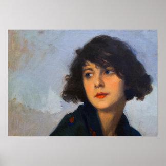 Woman with green shawl, Cyprien Eugène Boulet Poster