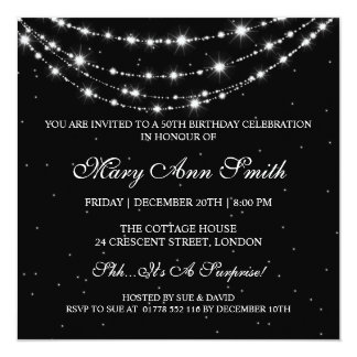 Women 50th Birthday Party Sparkling Chain Black 13 Cm X 13 Cm Square Invitation Card