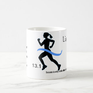 Women's Half Marathon Mug with Blue Ribbon