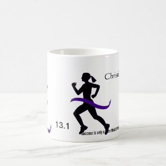 Women's Half Marathon Purple Ribbon Basic White Mug