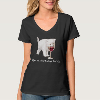 Women's Red Wine Cat Quote T-Shirt