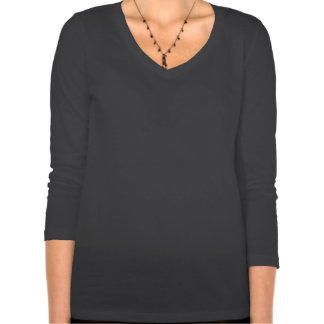Womens Relaxed Fit 3/4 Sleeved V-Neck (dark grey) T Shirts