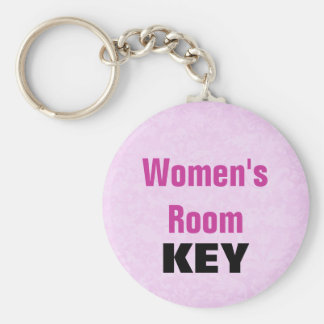 Womens Room Keychain - Pink and Black