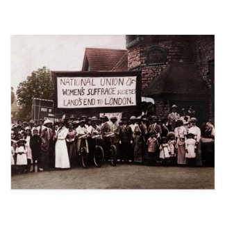 Women's Suffrage Group with Banner Postcard