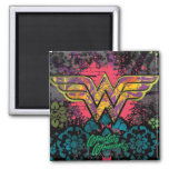 Wonder Woman Brick Wall Collage Square Magnet