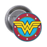Wonder Woman Circle & Stars Logo 6 Cm Round Badge