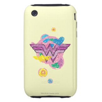 Wonder Woman Colorful Scribbles Tough iPhone 3 Cases