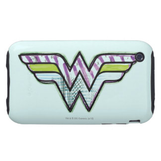 Wonder Woman Colorful Sketch Logo Tough iPhone 3 Cases