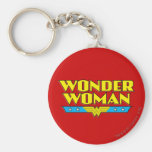 Wonder Woman Name and Logo Basic Round Button Key Ring