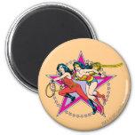 Wonder Woman Star Background 6 Cm Round Magnet