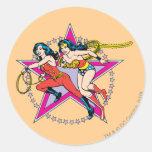 Wonder Woman Star Background Round Sticker