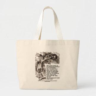 Wonderland Alice Go Among Mad People Quote Jumbo Tote Bag