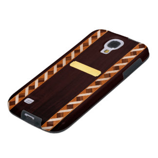 Wood Inlay Phone Case - Dark Wood with Name Plate