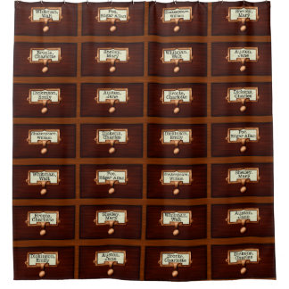 Wood Library Card Catalog Authors Retro Reading Shower Curtain