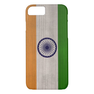 Wood Pattern with Engraved India Flag iPhone 7 Case