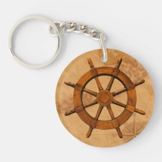 Wooden Ship Wheel Double-Sided Round Acrylic Key Ring
