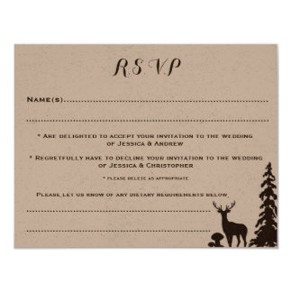 Woodland Brown Kraft Customised Wedding RSVP Card 11 Cm X 14 Cm Invitation Card