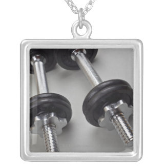 Workout weights square pendant necklace