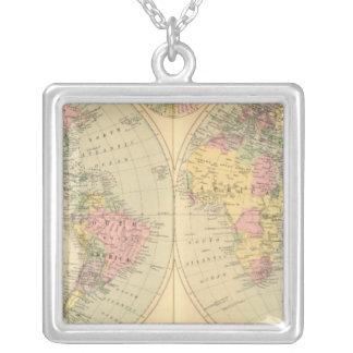 World 10 square pendant necklace