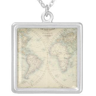 World in Hemispheres Square Pendant Necklace