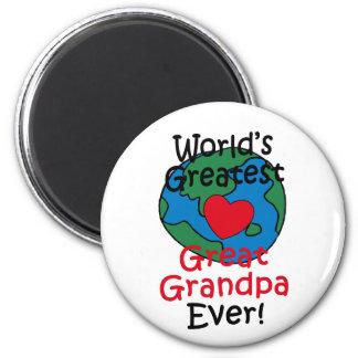 World's Greatest Great Grandpa Heart 6 Cm Round Magnet