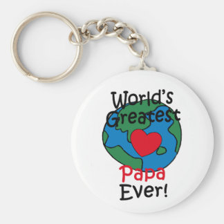 World's Greatest Papa Heart Basic Round Button Key Ring