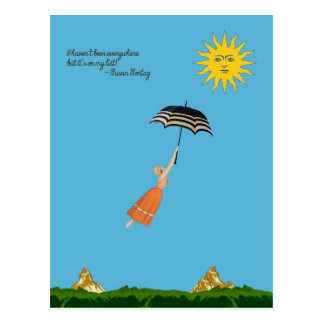 World traveler card with flying woman and umbrella postcard