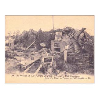World War I,  France, Ruins of a field hospital Postcard