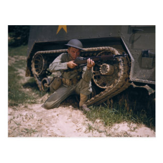World War II Soldier Kneeling with Garand Rifle Postcard