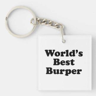 World's Best Burper Single-Sided Square Acrylic Key Ring