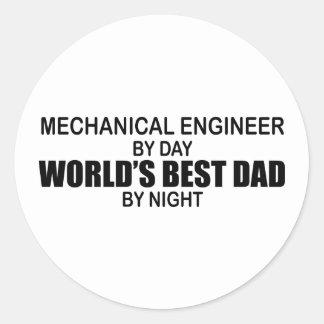World's Best Dad - Mechanical Engineer Round Sticker
