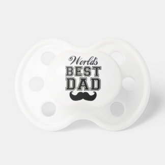 World's best dad with mustache baby pacifier